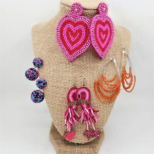 Artisan Beaded Earrings, 4 Pairs Artisan Made